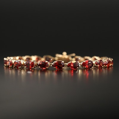 14K Garnet Line Bracelet