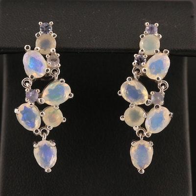 Sterling Silver Opal and Tanzanite Waterfall Earrings