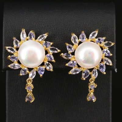 Sterling Pearl and Tanzanite Drop Earrings