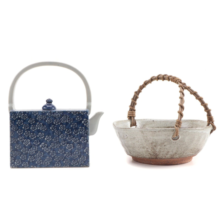 Japanese Ceramic Bowl with Willow Handle and Blue and White Porcelain Teapot