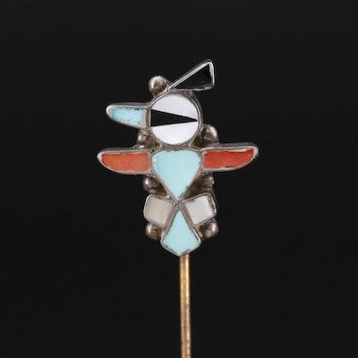 Emma Romancito Zuni Sterling Silver Thunderbird Stick Pin with Gemstone Inlay