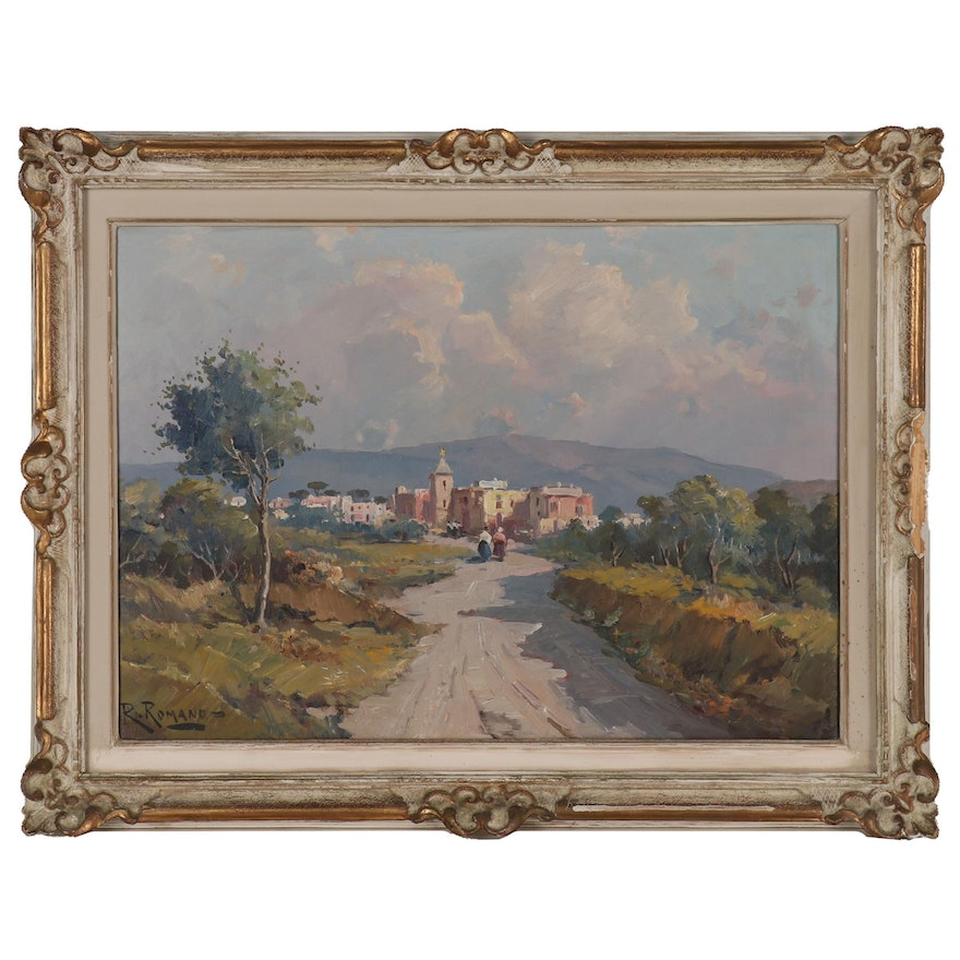 R. Romano Landscape Oil Painting of Mountain Village, 20th Century