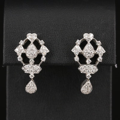 14K 1.46 CTW Diamond Tear Drop and Heart Motif Stud Earrings