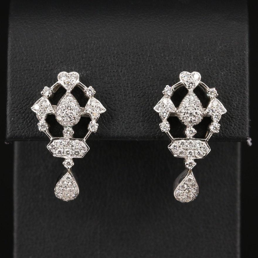 14K 1.46 CTW Diamond Tear Drop and Heart Motif Stud Earrings