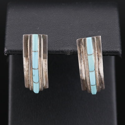 Southwestern Style Sterling Silver Turquoise Inlay Earrings