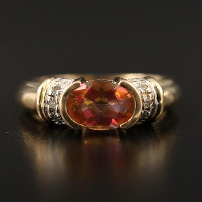 14K Sapphire and Diamond Half Bezel Ring