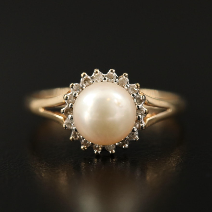 14K Pearl and Diamond Halo Ring