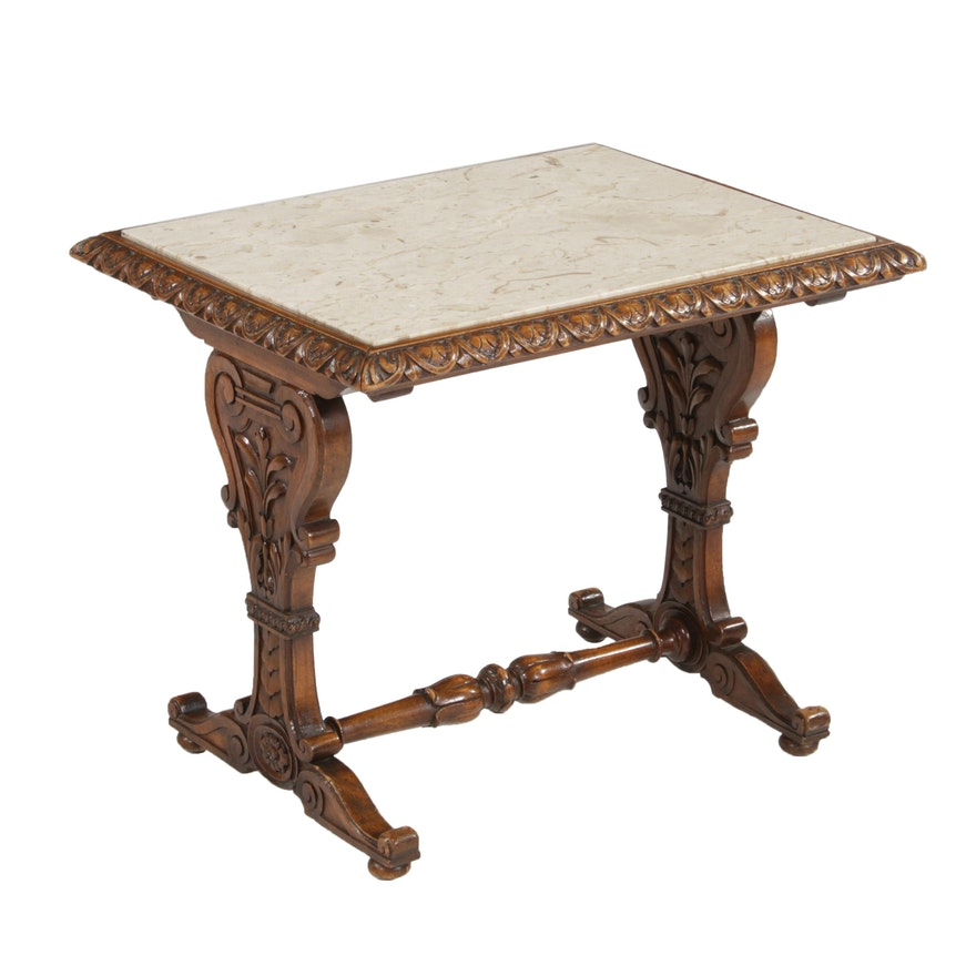 Late Victorian Eastlake Style Marble Top Walnut Side Table, Early 20th Century