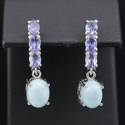 Sterling Aquamarine and Tanzanite Dangle Earrings