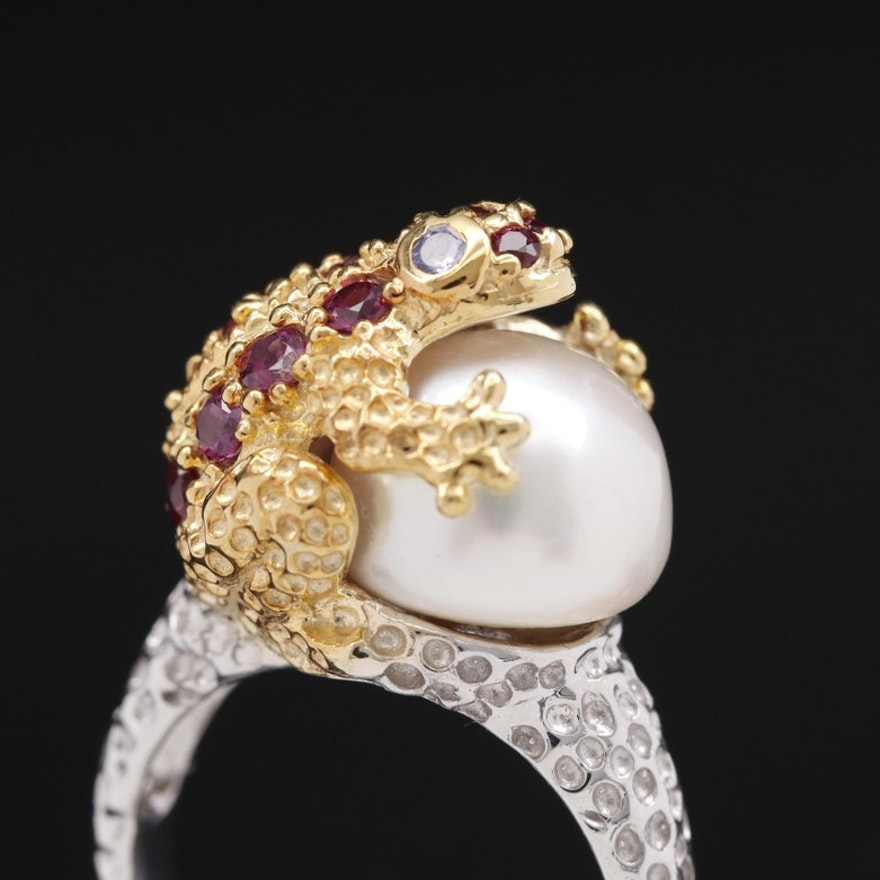 Sterling Silver Garnet, Pearl and Tanzanite Frog Ring