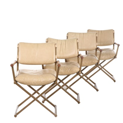 Four Modern Metal and Wood Open Arm Chairs, Late 20th Century