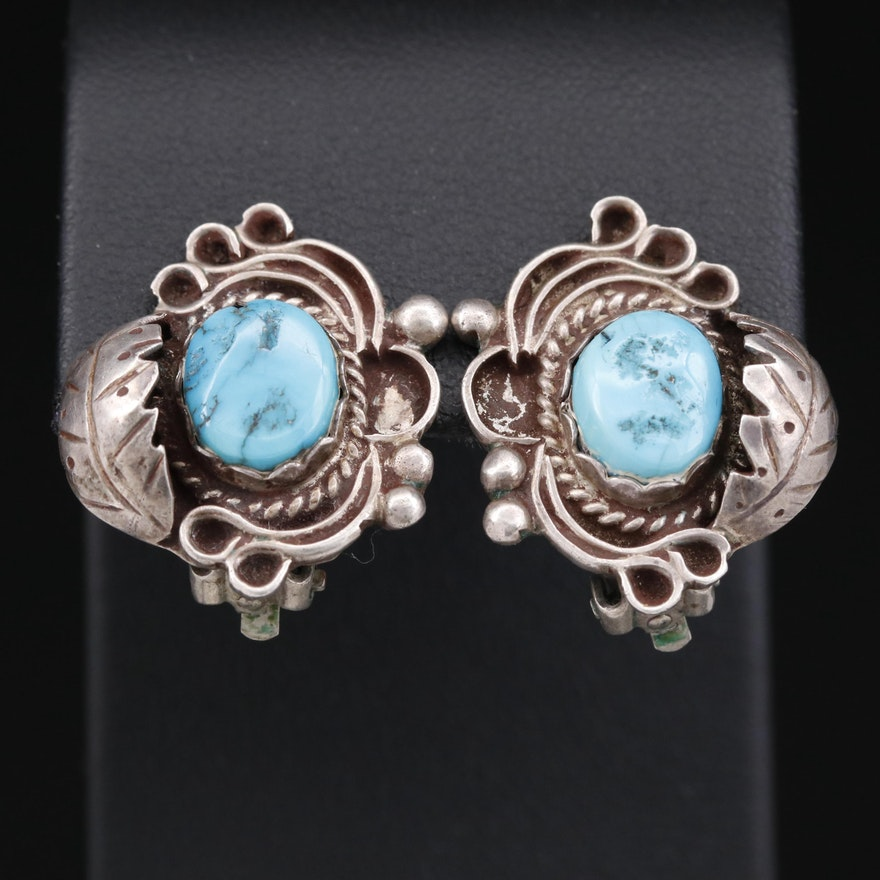 Vintage Western 900 Silver Turquoise Clip-On Earrings