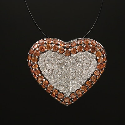 18K Sapphire and Diamond Heart Shaped Cluster Pendant