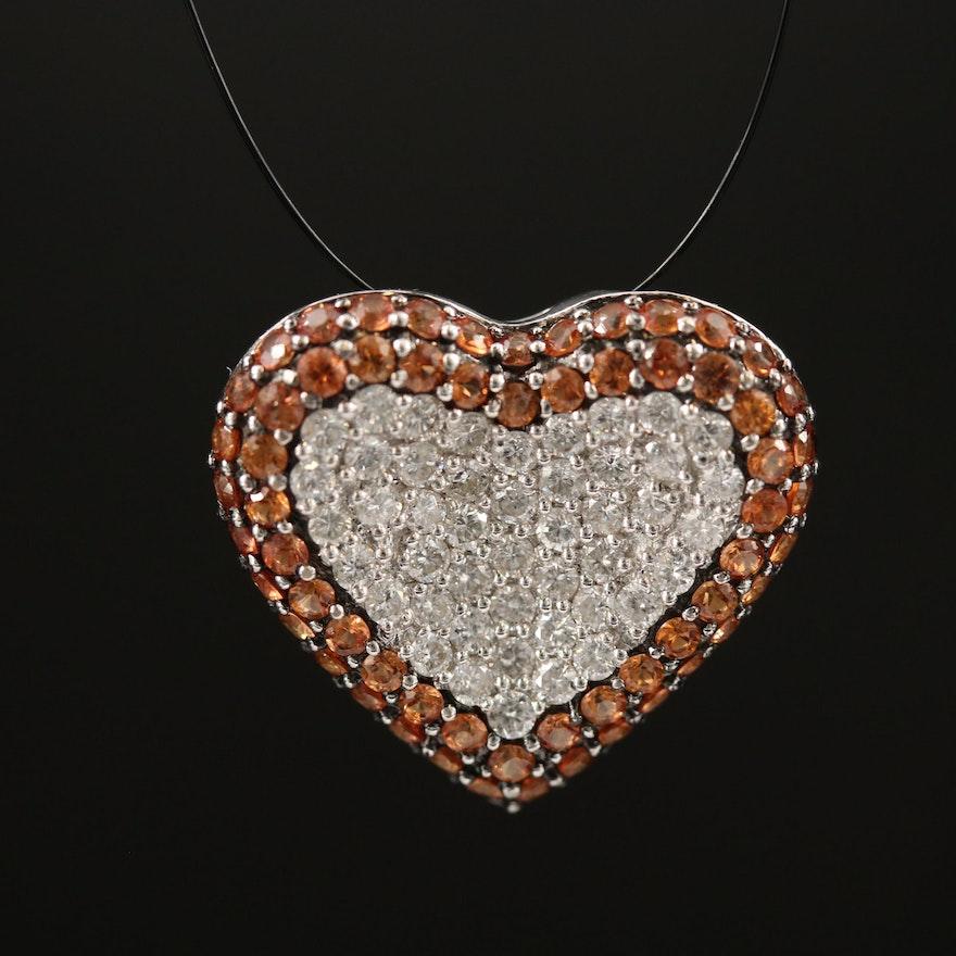 18K Sapphire and Diamond Heart Shaped Cluster Pendant