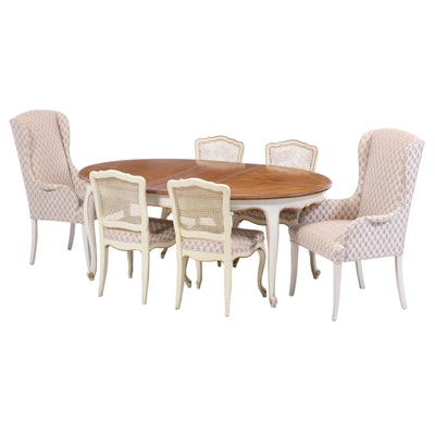 Matched Seven-Piece French Provincial Style Dining Set, Featuring Henredon