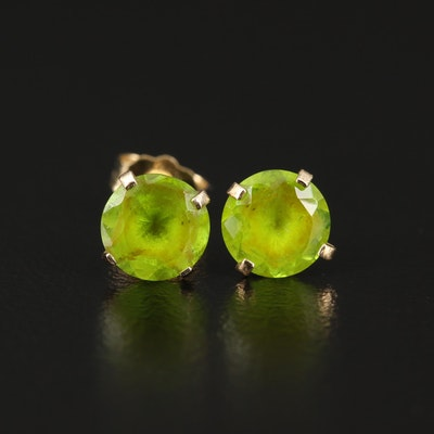 14K Green Glass Stud Earrings