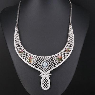 Sterling Lattice Motif Necklace Including Aquamarine, Garnet, Diopside and More