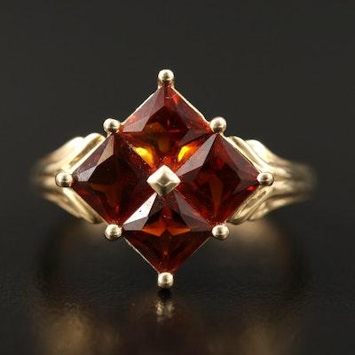 14K Citrine Ring Featuring Geometric Design