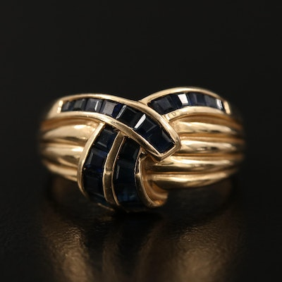 14K Sapphire Ring Featuring Crossover and Fluted Designs
