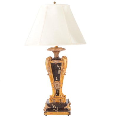 Stylized Neoclassical Urn Shaped Lamp with Gilt Acanthus Leaf Accents