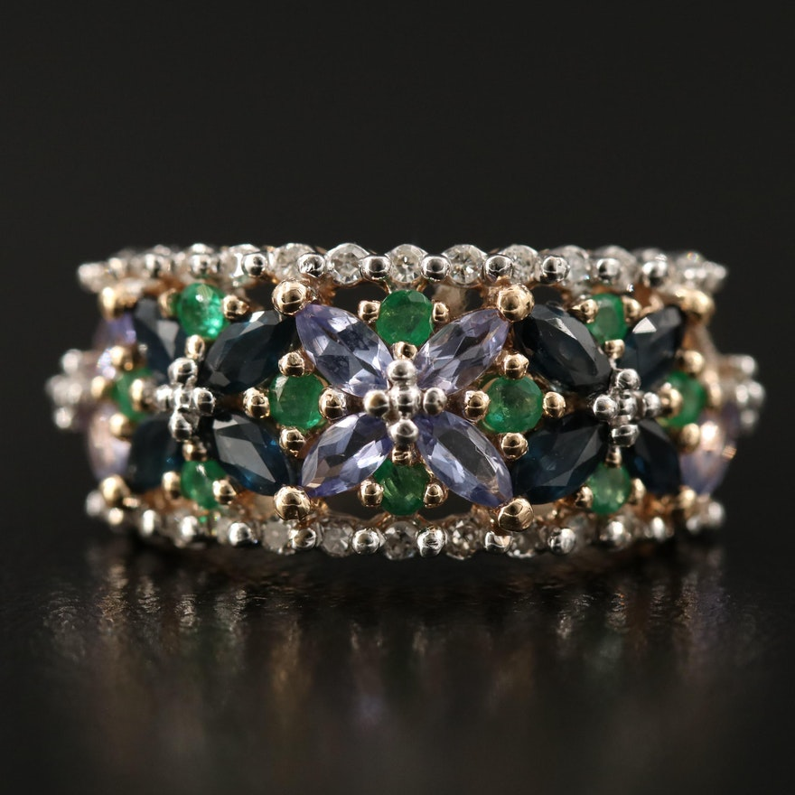 14K Sapphire, Tanzanite, Emerald and Diamond Floral Ring