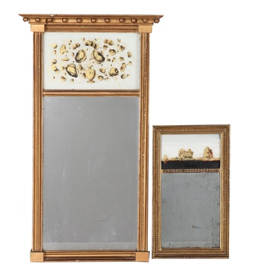 Reverse Painted Trumeau Wall Mirrors