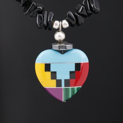 Southwestern Style Inlay Heart Pendant Necklace with Sterling Silver Clasp