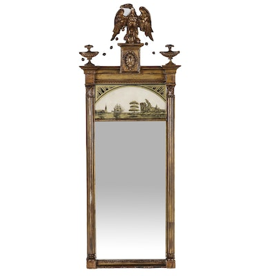Reverse Painted Federal Style Trumeau Mirror