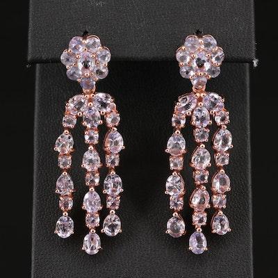Sterling Silver Tanzanite Floral Dangle Earrings