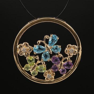 10K Amethyst, Topaz, Peridot and Diamond Butterfly Pendant