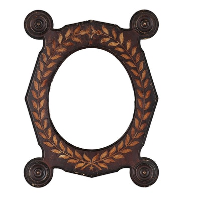 Wooden Wall Mirror with Carved Foliate Motif