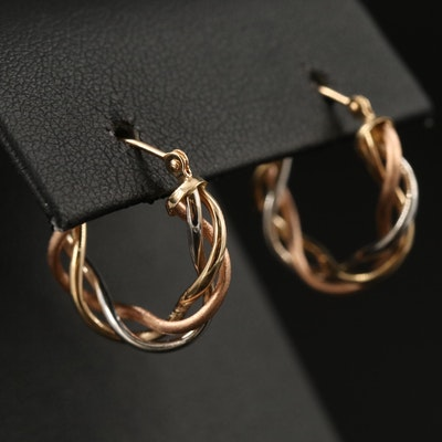 Michael Anthony 14K Tri Color Spiral Hoop Earrings