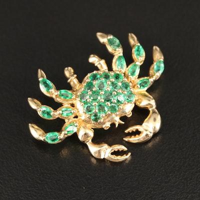 14K Emerald Crab Converter Brooch