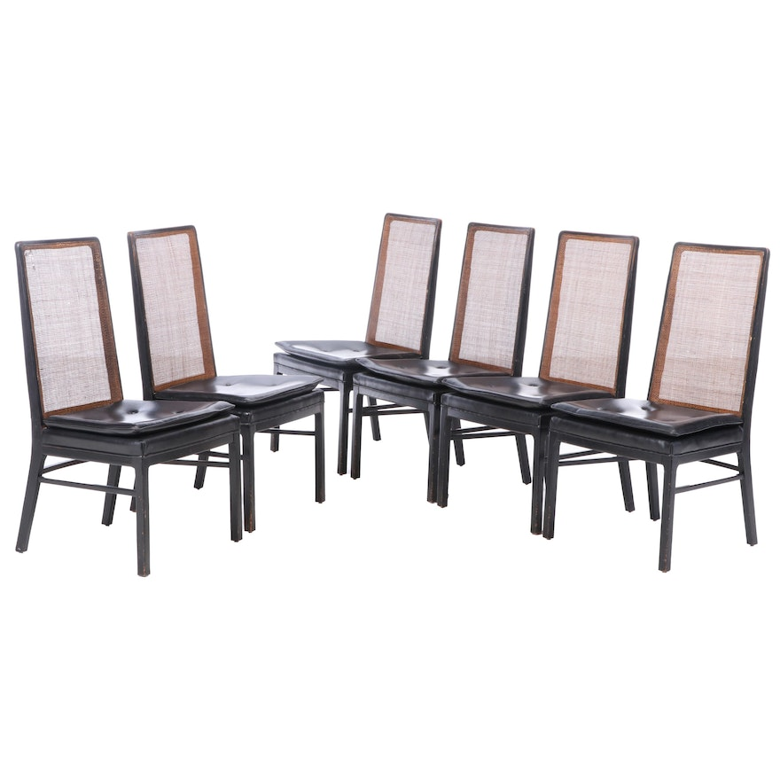 Ebonized Wood Cane Back Vinyl Dining Chairs, Mid to Late 20th Century