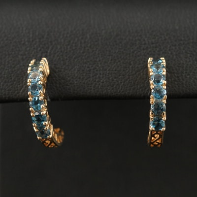 10K Topaz Half Hoop Earrings