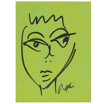 Peter Keil Abstract Portrait Ink and Acrylic Painting, Late 20th Century