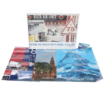 Delta Airlines 75th, 80th Anniversary Posters and 1946 Airline Ticket