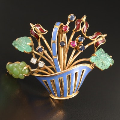 Vintage 18K Diamond and Gemstone Flower Basket Brooch