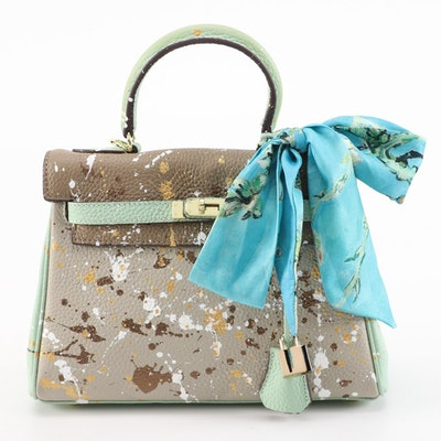 Splatter Painted Leather Structured Satchel with  Watercolor Print Twilly Scarf
