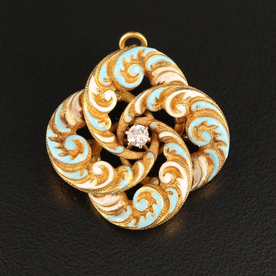 Victorian 14K Diamond Knot Converter Brooch with Enamel and Scroll Pattern