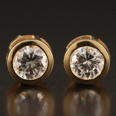14K Bezel Set Cubic Zirconia Stud Earrings