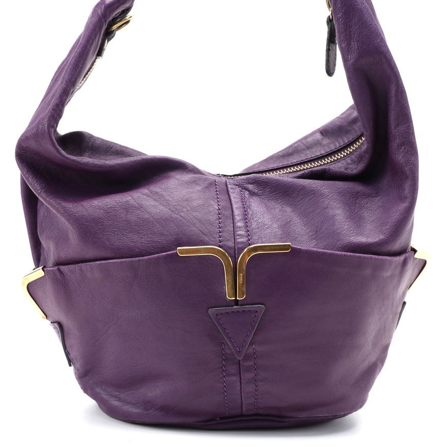 Chloé Triple Chain Milton Purple Leather Shoulder Bag