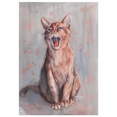 Watercolor Painting of Yawning Cat