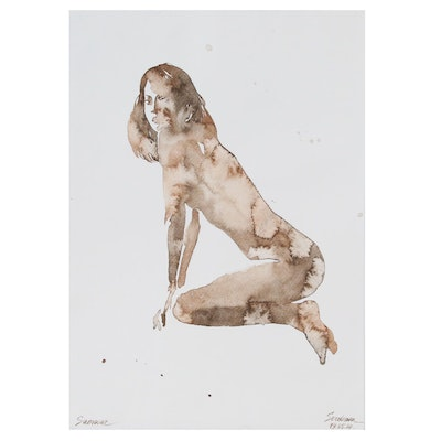 Anastasija Serdnova Watercolor Painting of Female Nude