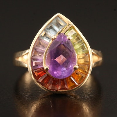14K Amethyst and Gemstone Pear Shaped Ring