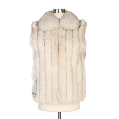Blue Fox Fur Zip Vest