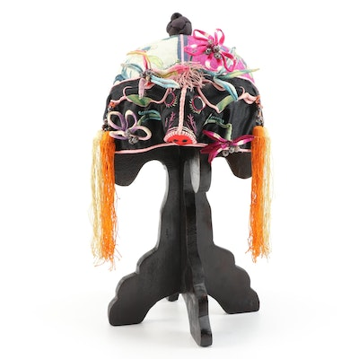 Children's Chinese Embroidered Floral Silk Ox Hat with Stand