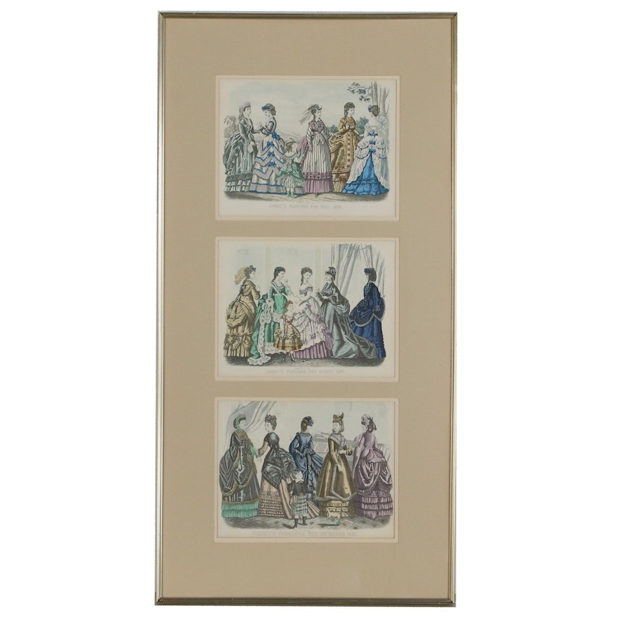 Lithographic Prints after Godey's Fashion Plates from 1870