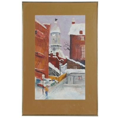 Winter Street Scene Oil Painting, Late 20th Century
