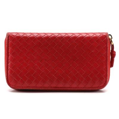 Bottega Veneta Intrecciato Woven Red Leather Zip Wallet